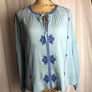 J Crew Embroidered Peasant Top